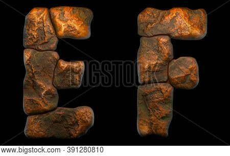 Set of rocky letters E, F. Font of stone on black background. 3d rendering