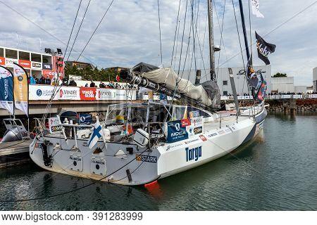 Les Sables D'olonne, France - October 19, 2020: Boat Of Ari Huusela (stark) On The Vendee Globe 2020