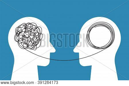Two Human Heads Silhouette, Therapist And Patient. Psycho Therapy Concept. Abstract Concept Tangled