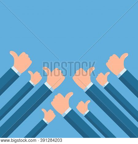 People Holding Many Thumbs Thumbs Up. Social Network Likes, Approval, Customers Feedback Concept. Ve