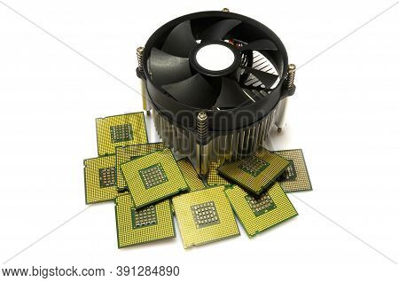Cpu Heatsink Cooler With Many Cpu Processors Isolated On White