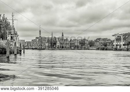 Black And White Shot Of The Beautiful City Of Alkmaar, The Cheese City Of The Netherlands In The Pro