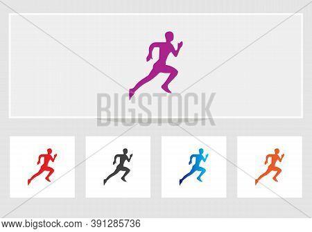 Healthy Running Marathon Athletes Sprinting Badges Vector