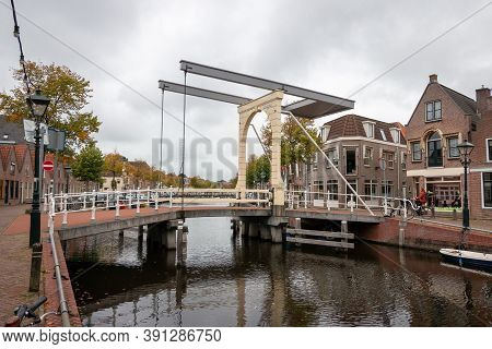 Old Drawbridge In The City Of Alkmaar, Province Of Noord Holland In The Netherlands