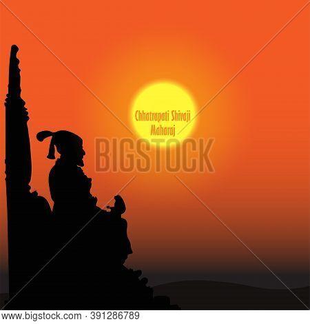 Illustration Of Chhatrapati Shivaji Maharaj Jayanti. Sunset Or Sunrise Background.