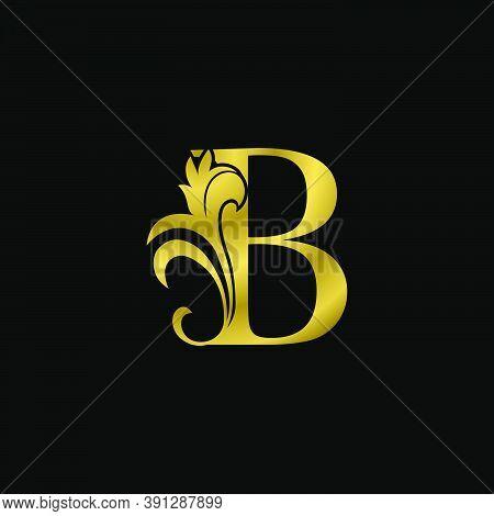 Golden B Initial Letter Luxurious Logo Icon, Vintage Luxury Vector Design Concept Outline Alphabet L
