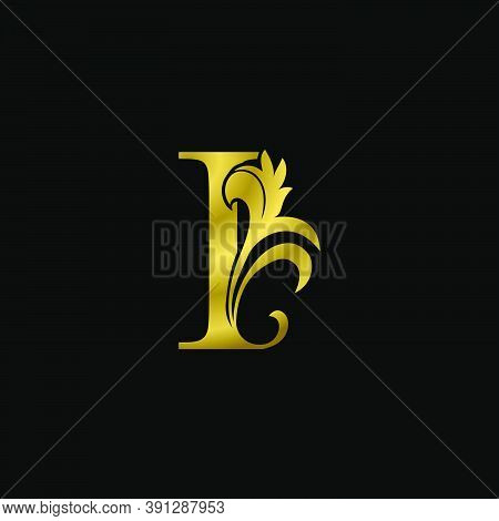 Golden I Initial Letter Luxurious Logo Icon, Vintage Luxury Vector Design Concept Outline Alphabet L