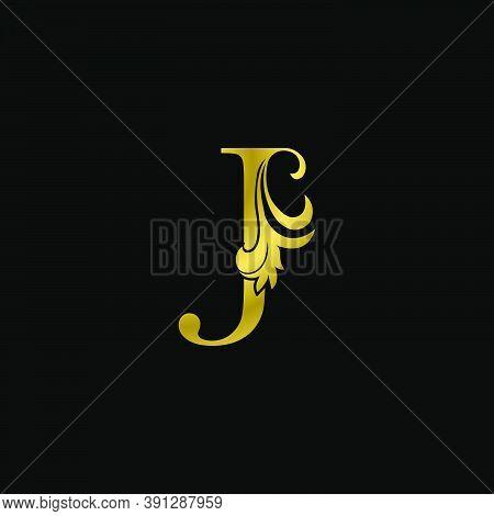 Golden J Initial Letter Luxurious Logo Icon, Vintage Luxury Vector Design Concept Outline Alphabet L