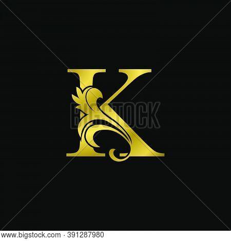 Golden K Initial Letter Luxurious Logo Icon, Vintage Luxury Vector Design Concept Outline Alphabet L