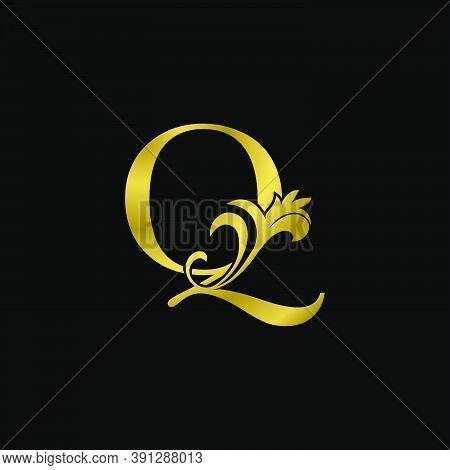 Golden Q Initial Letter Luxurious Logo Icon, Vintage Luxury Vector Design Concept Outline Alphabet L