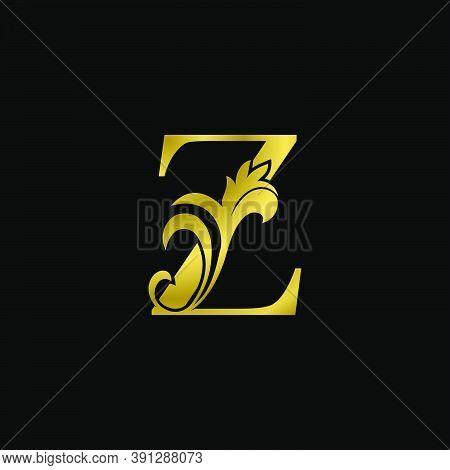 Golden Z Initial Letter Luxurious Logo Icon, Vintage Luxury Vector Design Concept Outline Alphabet L