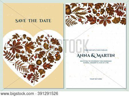 Wedding Invitation Card With Colored Fern, Dog Rose, Rowan, Ginkgo, Maple, Oak, Horse Chestnut, Ches