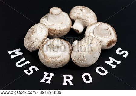 Group Of Champignons. Arranged In A Circle In The Center Of The Screen. The Label At The Bottom Is M
