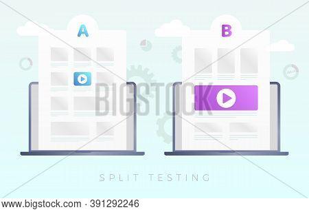 Split Testing Vector Concept Modern Illustration. Ab Comparison Web Site, Online Experiment With Dif