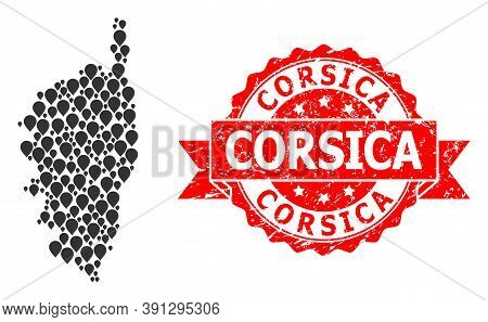 Pin Collage Map Of Corsica And Scratched Ribbon Stamp. Red Stamp Has Corsica Text Inside Ribbon. Abs