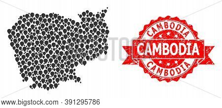 Pinpoint Collage Map Of Cambodia And Scratched Ribbon Stamp. Red Stamp Seal Has Cambodia Caption Ins