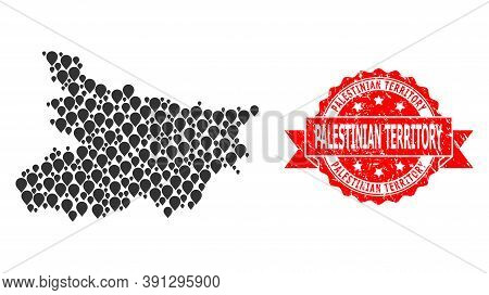 Pinpoint Collage Map Of Bihar State And Scratched Ribbon Seal. Red Stamp Seal Contains Palestinian T
