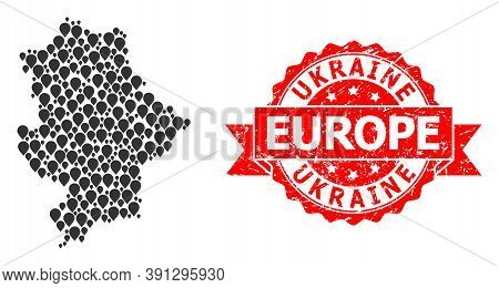 Marker Mosaic Map Of Donetsk Republic And Scratched Ribbon Stamp. Red Stamp Has Ukraine Europe Title
