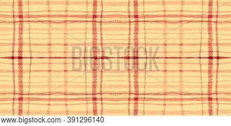 Summer Tartan Pattern. Watercolor Picnic Textile. Woven Stripes For Kilt Design. Seamless Yellow Tar