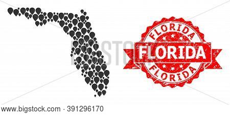 Pointer Collage Map Of Florida State And Grunge Ribbon Seal. Red Stamp Seal Has Florida Tag Inside R