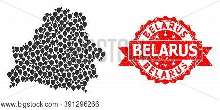 Pinpoint Mosaic Map Of Belarus And Grunge Ribbon Seal. Red Seal Has Belarus Caption Inside Ribbon. A