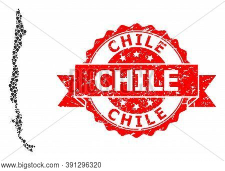Marker Collage Map Of Chile And Grunge Ribbon Seal. Red Stamp Seal Has Chile Title Inside Ribbon. Ab