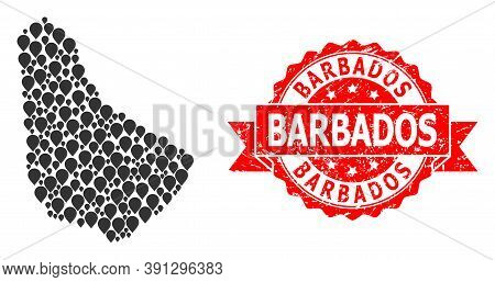 Pinpoint Collage Map Of Barbados And Grunge Ribbon Stamp. Red Stamp Has Barbados Tag Inside Ribbon.