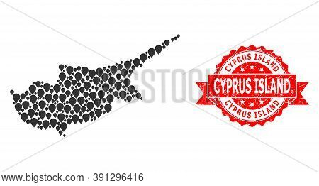 Pointer Mosaic Map Of Cyprus Island And Scratched Ribbon Seal. Red Stamp Seal Includes Cyprus Island