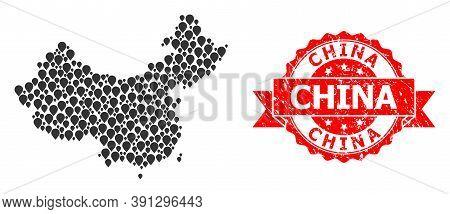 Mark Mosaic Map Of China And Grunge Ribbon Seal. Red Stamp Seal Contains China Caption Inside Ribbon