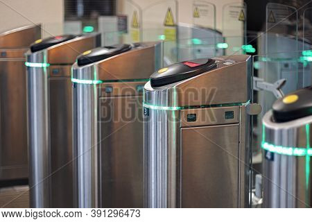 Turnstiles At The Railway Station, Access To Trains Through Automatic Ticket Control,