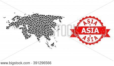 Pin Collage Map Of Europe And Asia And Grunge Ribbon Seal. Red Stamp Seal Includes Asia Text Inside
