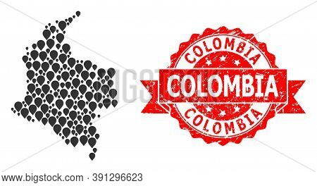 Marker Collage Map Of Colombia And Scratched Ribbon Stamp. Red Stamp Contains Colombia Title Inside