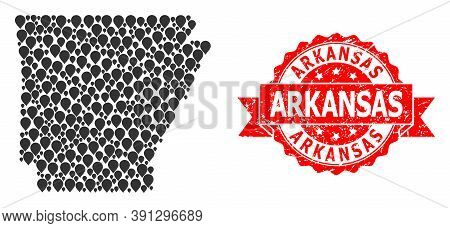 Target Mosaic Map Of Arkansas State And Scratched Ribbon Stamp. Red Stamp Seal Contains Arkansas Tit