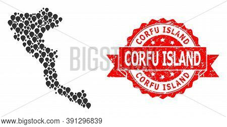 Target Collage Map Of Corfu Island And Scratched Ribbon Stamp. Red Stamp Seal Includes Corfu Island