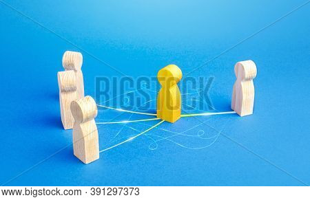 The Yellow Person Acts As Mediator Between People. Bridging Parties, Communication. Easy Negotiation