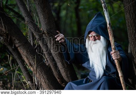 A Wizard With A Long Gray Beard And A Cloak In A Deep Forest. An Elderly Man In A Witcher Costume