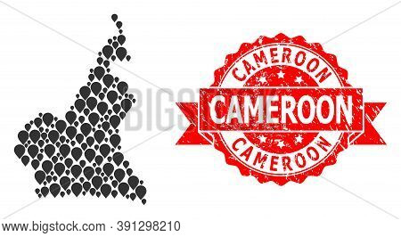 Pin Collage Map Of Cameroon And Grunge Ribbon Stamp. Red Stamp Contains Cameroon Tag Inside Ribbon.