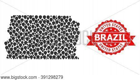Pin Mosaic Map Of Brazil - Distrito Federal And Grunge Ribbon Seal. Red Seal Has United States Brazi