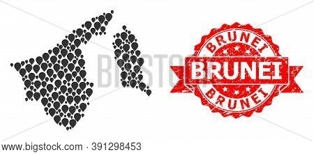 Mark Collage Map Of Brunei And Scratched Ribbon Seal. Red Seal Includes Brunei Tag Inside Ribbon. Ab