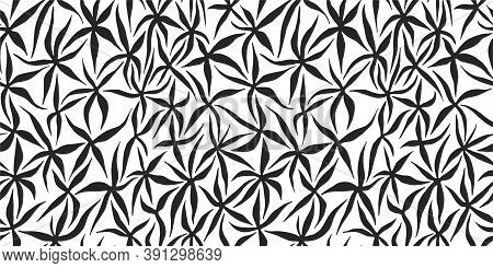 Seamless Vector Natural Organic Pattern. Chaotic Flowers Background. Black And White Floral Pattern.