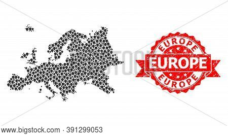 Pin Mosaic Map Of Europe And Grunge Ribbon Watermark. Red Stamp Includes Europe Caption Inside Ribbo