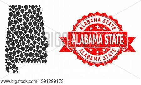 Pointer Collage Map Of Alabama State And Grunge Ribbon Stamp. Red Stamp Seal Includes Alabama State