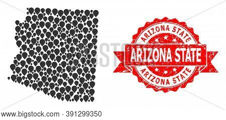 Mark Collage Map Of Arizona State And Scratched Ribbon Stamp. Red Stamp Contains Arizona State Capti