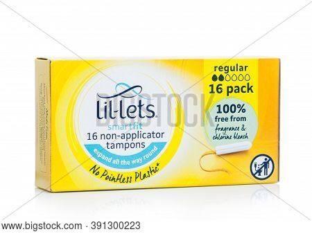 London, Uk - October 14, 2020: Box Of Lil-lets Non-applicator Tampons On White Background.