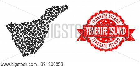Pin Collage Map Of Tenerife Island And Grunge Ribbon Watermark. Red Stamp Seal Includes Tenerife Isl