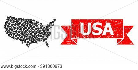 Marker Mosaic Map Of Usa And Scratched Ribbon Seal. Red Seal Includes Usa Tag Inside Ribbon. Abstrac