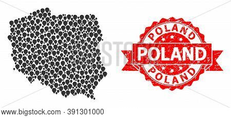 Pointer Collage Map Of Poland And Scratched Ribbon Stamp. Red Stamp Seal Contains Poland Title Insid