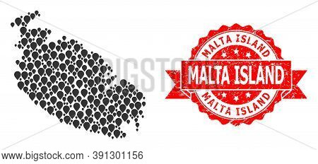 Target Mosaic Map Of Malta Island And Scratched Ribbon Stamp. Red Stamp Seal Has Malta Island Tag In