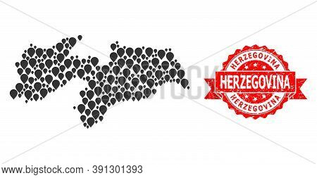 Pinpoint Collage Map Of Paraiba State And Grunge Ribbon Watermark. Red Stamp Includes Herzegovina Ca