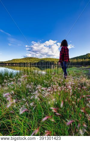 Girl Standing With Beautiful Scenery And Wild Flowers By The Lake During A Clear Sunny Evening In Ca
